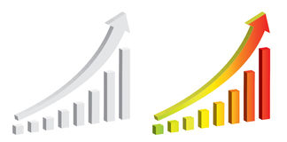 Chart 3D vector color and white arrow chart Royalty Free Stock Photo