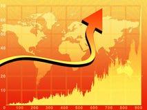 Chart. And arrow over orange world map background stock illustration