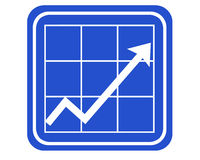 Chart. A blue sign showing a chart with an increasing arrow stock image