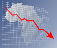 Chart Africa down. Chart with downwards arrow over a map of Africa Stock Image