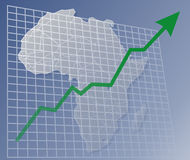 Chart Africa up. Chart with upwards arrow over a map of Africa Stock Photography