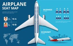 Chart airplane seat, plan, of aircraft passenger. Aircraft seats plan top view. Business and economy classes airplane. Indoor information map. Vector royalty free illustration