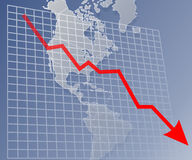 Chart Americas down. Chart with downward arrow over a map of the Americas Stock Illustration