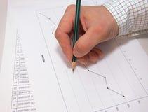 Chart analise. Businessman hand - chart analise royalty free stock photography