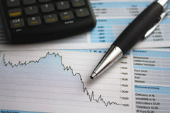 Chart analyzis. With pen and calculator in an office Royalty Free Stock Image