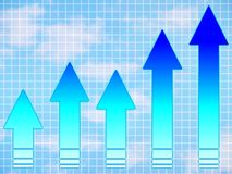 Chart arrow up. Graph of blue arrows, sky background, depicting growth, success, productiveness vector illustration