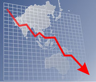 Chart Asia down. Chart with donwards arrow over a map of Asia Royalty Free Stock Photo