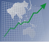 Chart Asia up. Chart with upwards arrow over a map of Asia Royalty Free Stock Image