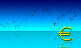Chart background and Euro. Sign Royalty Free Stock Image
