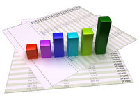Chart bars. 3D chart bars growing on financial files and isolated on white background.  the paper and the chart have a 2px black border for easy and precise Stock Image