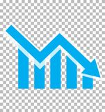 Chart with bars declining. Chart icon on transparent background. Loss chart. declining graph sign. negative trend symbol stock illustration