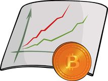 Chart and bitcoin. Cartoon ascending chart with bitcoin symbol on white background Stock Photos