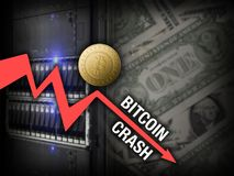 Chart bitcoin price crash on server and dollars background Royalty Free Stock Image