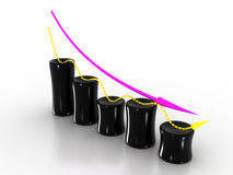 Chart of the black cylinders  №1 Stock Photography