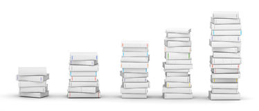 Chart of books. Several white blank books stacks royalty free stock photos