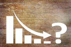 Chart of Business Decrease  Challenge With an Arrow Falling Down. Concept of Crisis With Paper Scrapbooking Royalty Free Stock Photography