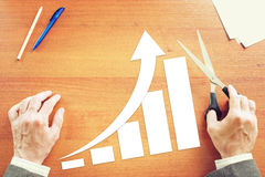Chart of Business Growth With Rising Up Arrow. Concept of Success. With Paper Scrapbooking Royalty Free Stock Photo