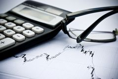Chart, calculator, glasses as financial stock analysis concept. Chart, calculator, glasses as financial analysis concept royalty free stock images