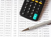 Chart with calculator and pen. A pen and calculator on top of a business chart Stock Images