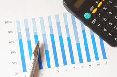 Chart with calculator and pen Stock Image