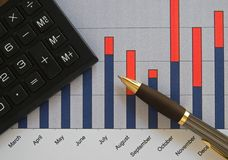 Chart, calculator, and pen Stock Photos