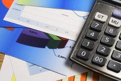 Chart, Calculator & Pen Royalty Free Stock Photo