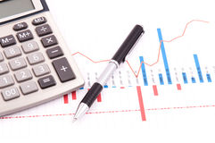 Chart, calculator and pen Royalty Free Stock Images