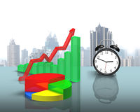 Chart and clock on glass table Royalty Free Stock Images