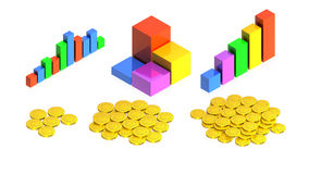 Chart with coins. 3D image of a simple object for use in presentations, manuals, design, etc Stock Photo