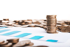 Chart and coins Stock Image