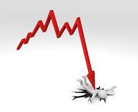Chart crashing down on Person. 3D rendering of a red Financial Chart crashing down on figure creating a big crack on the ground Stock Images