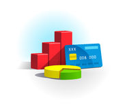 Chart and credit card Royalty Free Stock Photography