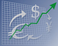 Chart currency up. Chart with upward arrow over currency symbols Stock Illustration