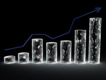 Chart from cylindrical ice columns Stock Photo