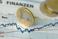 Chart-development. Of DAX with Euro-Coin Royalty Free Stock Photography