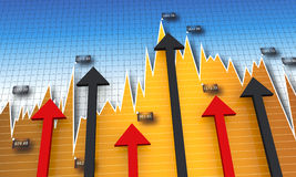Chart, diagram with arrows Stock Photography
