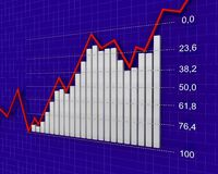 Chart, diagram (Fibonacci number). 3d graph showing rise in profits or earnings Stock Image
