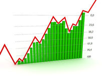 Chart, diagram (Fibonacci number). 3d graph showing rise in profits or earnings Royalty Free Stock Image