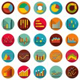 Chart diagram icon set, flat style. Chart diagram icon set. Flat illustration of 25 chart diagram vector icon circle isolated on white Royalty Free Stock Images