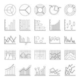 Chart diagram icon set, outline style. Chart diagram icon set. Outline illustration of 25 chart diagram vector icons for web Royalty Free Stock Photos