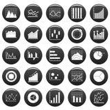 Chart diagram icon set vetor black. Chart diagram icon set. Simple illustration of 25 chart diagram vector icons black isolated Stock Photos