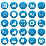 Chart diagram icon set vetor blue. Chart diagram icon set. Simple illustration of 25 chart diagram vector icons blue isolated Royalty Free Stock Photography