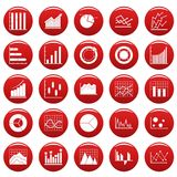 Chart diagram icon set vetor red. Chart diagram icon set. Simple illustration of 25 chart diagram vector icons red isolated Stock Images