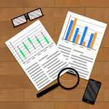 Chart and diagram on table Stock Image