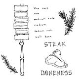 Chart Differently Cooked Pieces of Beef on a Fork and Porterhouse Steak. BBQ Party, Steak House Restaurant Menu. Hand Drawn Vector. Illustration. Savoyar Doodle Royalty Free Stock Photography