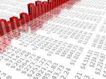 Chart on dollar report background Royalty Free Stock Photos