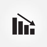 Chart down vector icon isolated on white background . royalty free illustration