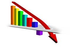 Chart with Downward Trend. 3D Business Graph, Downward Trend Royalty Free Stock Photos