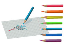 Chart drawing with pencil. Chart drawing with colorful pencil Royalty Free Stock Photo