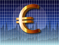 Chart Euro. Chart with Euro currency symbol over a business charts Royalty Free Stock Images